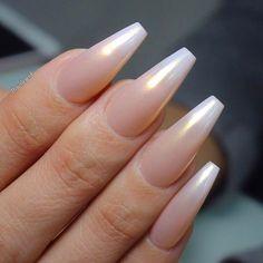 Pearl Ombre Long Coffin Nails. So pretty! Love Love Love ❤ #nail #nailart #spring