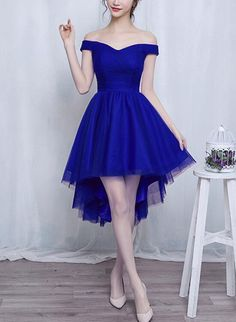 Unique Prom Dresses, Off Shoulder Tulle Simple High Low Homecoming Dress, Lovely Senior Homecoming Dress, There are long prom gowns and knee-length 2020 prom dresses in this collection that create an elegant and glamorous look Long Prom Gowns, Formal Gowns, Short Dresses, 15 Dresses, Club Dresses, Party Dresses, Dresses Online, Senior Prom Dresses, Homecoming Dresses High Low