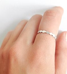 Silver Tiny Arrows Stackable Ring