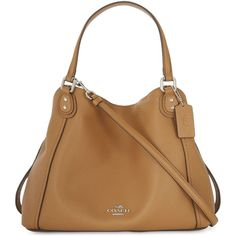 Coach Edie 28 shoulder bag ($320) ❤ liked on Polyvore featuring bags, handbags, shoulder bags, leather handbags, genuine leather handbags, brown leather purse, leather shoulder bag and leather purses