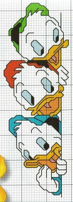 Huey, Dewey, and Louie cross stitch pattern