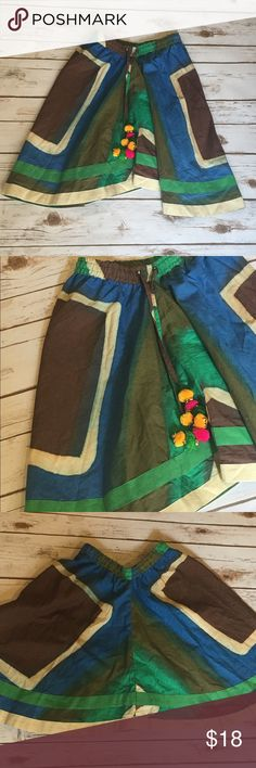 Girls Handwoven/ Hand spun Skirt This skirt is hand woven and hand spin. Features an elastic waistband and drawstring tie that ends with cute Pom poms Boutique Bottoms Skirts
