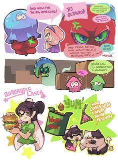 I hate this but it's cute. Splatoon Memes, Splatoon 2 Art, Splatoon Comics, Pokemon Comics, Gomi Gomi, Splatoon Squid Sisters, Callie And Marie, Cute Kawaii Drawings, Super Mario Bros