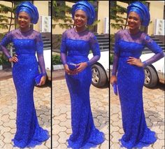 2015 African Royal Blue Evening Dresses with Long Sleeves Nigerian Aso Ebi Styles Lace Mermaid Party Evening Gowns Forma_Formal Dresses_Weddings & Formal Events_Catch Style Royal Blue Formal Dresses, Blue Lace Prom Dress, Lace Dresses, African Lace, African Women, African Style, African Beauty, Nigerian Dress, Nigerian Lace