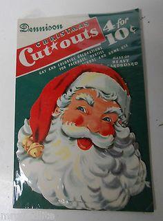 4 Old DENNISON Christmas Diecuts in Original Package - BIG SANTA CLAUS FACE