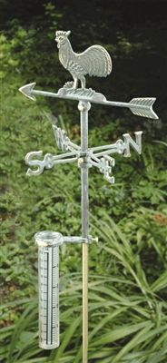 Bring a touch of decorative charm and functionality to your garden or flower bed with this cast iron Rooster Rain Gauge. The rain gauge features a cast iron jointed stake and durable plastic measuring vial marked in both inches and centimeters. Complete unit measures over 2 feet tall. #raingauge #raingauges #gardengifts