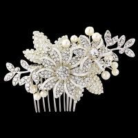 ESME CRYSTAL BRIDAL LUXE HAIR COMB - SASSB - ivory pearls and embellished beadwork - TIARAS AND HAIR COMBS