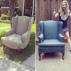 How to reupholster a wing back chair by Confessions of a Refashionista Reupholster Furniture, Chair Upholstery, Upholstered Furniture, Chair Cushions, Chair Redo, Chair Makeover, Redo Chairs, Ikea Chair, Desk Chair