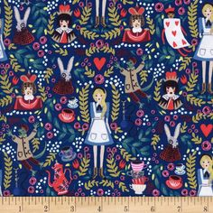Designed by the famous Rifle Paper Co. for Cotton + Steel, travel down the rabbit hole with this Alice in Wonderland inspired collection, featuring whimsical prints with beautiful coordinating colorways. This premium cotton print fabric is made in Japan and is perfect for quilting, apparel, and home decor accents. This print features Alice and her Wonderland friends, like the White Rabbit, the Cheshire Cat, the Queen of Hearts, and the Queen's playing cards. Colors include navy, sky blue,...