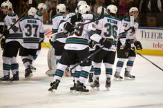 The Worcester Sharks celebrate a win and Nick Petrecki's GWG in Overtime (Jan. 11, 2013).