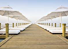 Sun loungers on top of the sea at a Thomas Cook hotel in Antalya