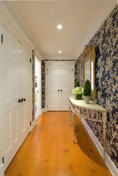 Six panel doors trimmed with crown head moldings dress-up these hallway linen closets. Black Interior Doors, Door Design Interior, Door Makeover, Panel Doors, Home Decor Furniture, Home Remodeling, New Homes, House Design, Traditional