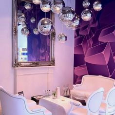 Salon mirrored balls I really want to so a hanging cluster of these in the salon but do NOT like the purple walls and furniture