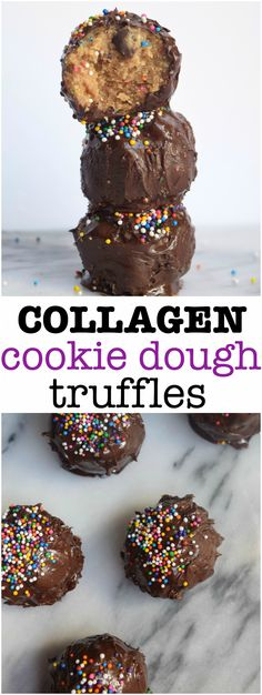Easy collagen cookie dough truffles with only 6 ingredients! These collagen cookie dough truffles are packed with, you guessed it, collagen! Collagen is all the rage right now and people take it fo…