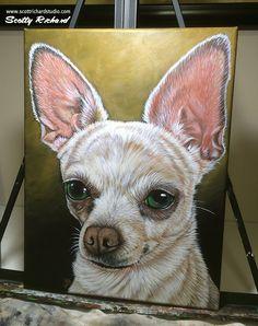 'Chihuahua' acrylics on canvas Chihuahua Drawing, Chihuahua Art, Teacup Chihuahua, Animal Paintings, Acrylic Paintings, Watercolor Animals, Dog Art, Art Projects, Chihuahuas