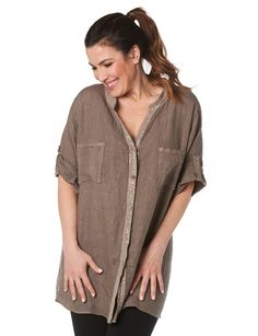 Linen roll-up short sleeve shirt by Froccella