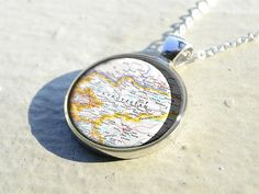Handmade vintage Tucson map necklace pendant charm jewelry - birthday gift for friend - Unusual Birthday Gifts, Birthday Presents For Mom, Special Birthday, Map Necklace, Engraved Necklace, Mississippi, Charm Jewelry, Pendant Jewelry, Resin Pendant