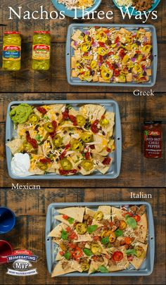 Be the homegating hero on game day with these three delicious nacho variations: Greek, Mexican and Italian. You're friends will have a harder time picking a favorite flavor than which team they want to win. Learn how! I Love Food, Good Food, Yummy Food, Recipes With Velveeta Cheese, Vegetarian Recepies, Nachos, Great Recipes, Favorite Recipes, Recipes Appetizers And Snacks