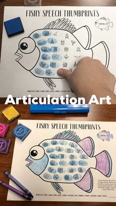 Fishy Thumbprints: A SpeechTherapy Craft Activity - All Diseases Speech Therapy Themes, Preschool Speech Therapy, Therapy Games, Speech Therapy Activities, Language Activities, Articulation Activities, Play Therapy, Therapy Ideas, Articulation Therapy