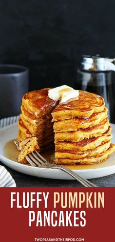 easy pumpkin pancake recipe is sure to be a fall favorite! Enjoy for breakfast, brunch, or even make pancakes for dinner! There is not a bad time to enjoy these delicious pumpkin pancakes! They would also be perfect for Halloween or Thanksgiving morning. Pumpkin Pancakes Easy, Pancakes For Dinner, Donuts, Savoury Cake, The Best, Blueberry, Yummy Food, Chips, Snacks