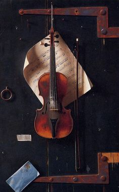 """The Old Violin  William Harnett  1886    This still life painting of a violin and bow almost caused a riot, but that's what nearly happened when The Old Violin by William Harnett was exhibited at the Cincinnati Industrial Exposition in 1886. Harnett was a master of trompe l'oeil (French for """"trick the eye""""). Police had to be called to guard this painting."""