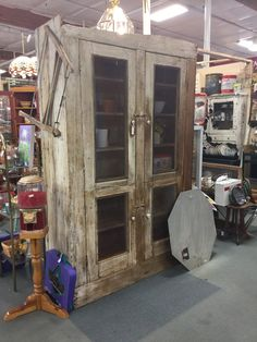 Antique screen door cabinet, just waiting to be spruced up. At the brass armadillo antique mall in Phoenix . From dealer 299 in booth 185. Priced at $595 Call 602.465.0262