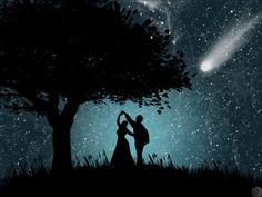 Romantic Dance under the Stars Dancing In The Moonlight, Luna Anime, Under The Stars, Hopeless Romantic, Romantic Dance, Romantic Night, Night Skies, Urban Art, Fantasy Art