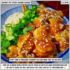 This Instant Pot (or you can make it on the hob!) sticky sesame chicken will hit the spot for only a couple of syns! Slimming World Dinners, Slimming Eats, Slimming World Recipes, Healthy Eating Recipes, Cooking Recipes, Healthy Food, Healthy Meals, Easy Pulled Pork, Sesame Chicken