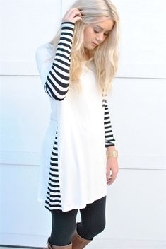Striped Tunic Dress Shirt with Pocket  I like the pop of something different.