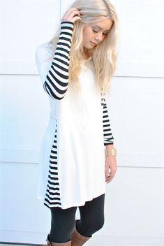 Striped Tunic Dress Shirt with Pocket | Jane