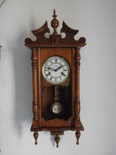 Antiguo Reloj Mecánico Manual A Llave De Pared Con Campanadas Principio 1900 Muebles Antiguos Y Decoración Relojes: Sobremesa Y Pared