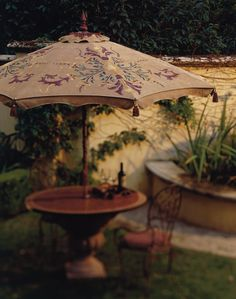 Hand Print Pattern Painted Patio Umbrella,