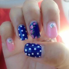 Blue and pink cute nail art