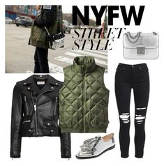 """Bomber vest"" by veureka on Polyvore featuring Yves Saint Laurent, Patagonia, AMIRI, Michael Kors, Loeffler Randall, contestentry and nyfwstreetstyle"