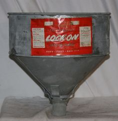NOS VINTAGE LOCK-ON GALVANIZED TRACTOR FUNNEL FARM DECOR LAMP CRAFT GOOD LABEL #LOCKON