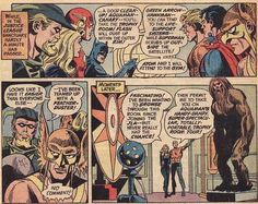 This is a great scene from Justice League of America #104.  Apparently it's cleaning day at the JLA Satellite, with Batman divvying up chores to Green Arrow, the Flash, Black Canary, Aquaman, Superman, the Atom, and Hawkman.  Len Wein wrote the story, and the art is by Dick Dillin and Dick Giordano.