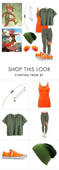 """""""More modern Robin Hood"""" by sea-sky-stars ❤ liked on Polyvore featuring Disney, BKE, Converse, Ray-Ban and modern"""