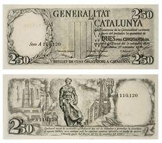 GENERALITAT DE CATALUNYA JOSEP OBIOLS 2.50 pesetas 25.09.1936 White pasted paper 162 x 68 mm © MNAC - Museu Nacional d'Art de Catalunya