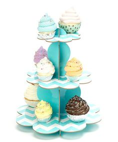 Take a look at this Turquoise Three-Tier Cupcake Stand by Expect Personality on #zulily today! This adds so much fun to a party.