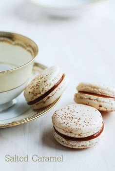 Fleur de Sel Macaron ~ French Sea Salt Studded Macaron Filled with Salted Caramel Butter Cream. Yummy Stuff!
