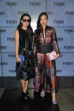 Antonia Li and Fei ping Chang at the Fendi Spring/Summer 2016 show during Milan Fashion Week