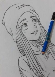 Cartoon Pencil Sketches, Drawing Cartoon Characters, Girl Drawing Sketches, Girly Drawings, Art Drawings Sketches Simple, Pencil Art Drawings, Cartoon Drawings, Art Sketchbook, Surface Area