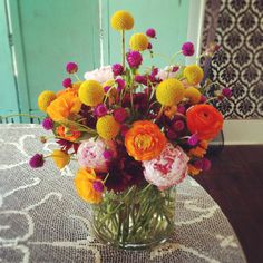 Peonies, ranunculus, mums, craspedia #wedding #flowers