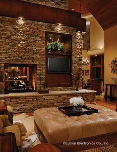 Add Finiré LED Recessed Lighting from the #Lutron Ivalo Collection to create the perfect ambiance when nestled by your #fireplace