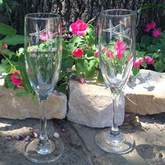 Personalized Wedding Flutes 2 Toasting by GreatLittleFavorCo