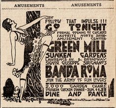 """The Green Mill: Big fun during the Prohibition speakeasy era. shepherdsnotsheep: """" The Green Mill is where the poetry slam was invented. 1920s Ads, 1920s Gangsters, Prohibition Party, Speakeasy Party, Art Deco Posters, Poster Prints, Call Of Cthulhu Rpg, Image 360, Southern Chicken"""