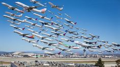 Incredible Composite Image of 8 Hours of Takeoffs at Los Angeles International Airport