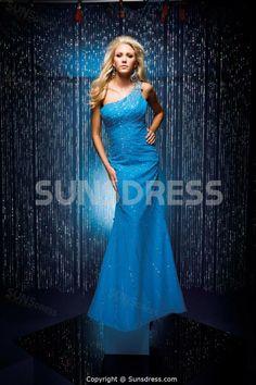 Glistening Turquoise Chiffon One Shoulder Sweep Brush Train Evening Dress   #sunsdress    sunsdress.com