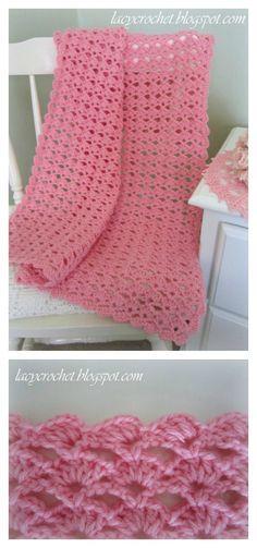 Lovely Shell Stitch Shells Baby Blanket Free Crochet Pattern