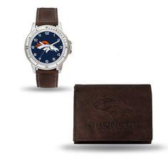 Denver Broncos Brown Watch/Wallet Gift Set Z157-9474692270